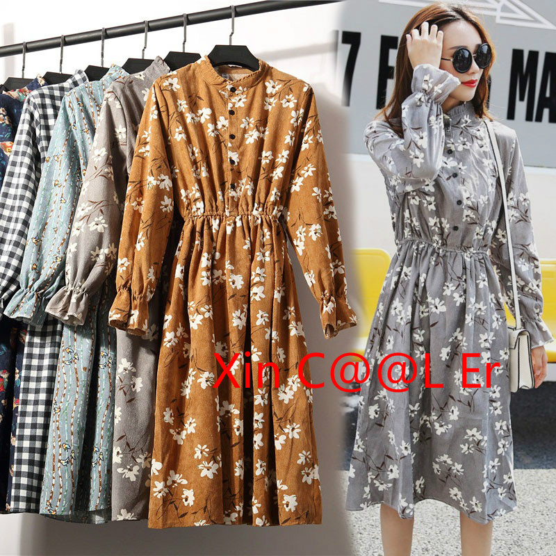 High Quality 2018 Fashion New Spring Autumn Women Long Sleeved Dress Retro Collar Casual Slim Dresses