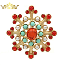 Vintage Baroque Style Red Burst Star Brooches Gold Tone Imitated Pearl Teal Green Beads Antique RoundFlower Pins Costume Jewelry