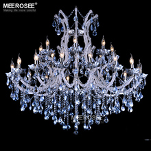 European style crystal candle lamp 24-light colored glass massive chandelier hotel hallway decorative lighting fixture vintage