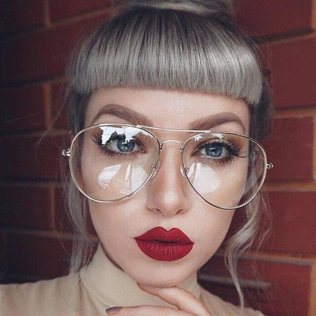 97c3c8d5c83 Gold Clear Glasses Myopia Clear Frame Glasses Women Eyewear Men Spectacle  Frame Clear Lens Optical Aviator Glass Lunette Female