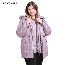 MS VASSA New Parkas 2018 Women winter Autumn Ladies Jackets turn-down collar hood with fake fur plus size 5XL 6XL female