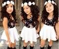 Baby Girl Children's Clothing Summer style girls dress sets petals T-shirt +  dress color petals dot pants suit new