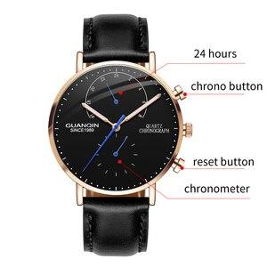 Image 4 - relogio masculino GUANQIN Brand Luxury Watches Men Fashion Creative Chronograph Luminous Analog Retro Leather Strap Quartz Watch
