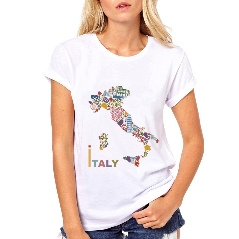 Creative ITALY Element Map T Shirt Woman Casual White TShort Sleeve Rich Material Unimaginable T-Shirt Cool Girls