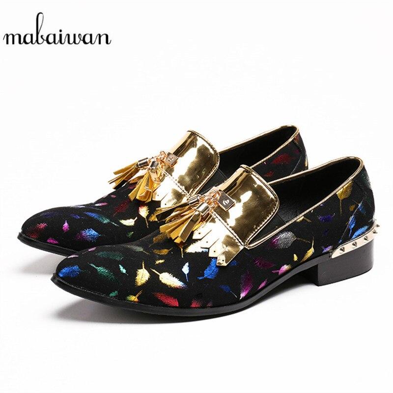 Mabaiwan 2018 Casual Shoes Print Handmade Loafers Wedding Dress Shoes Men Flats Tassel Slip On Espadrilles Rivets Hombre Shoes etro floral print espadrilles