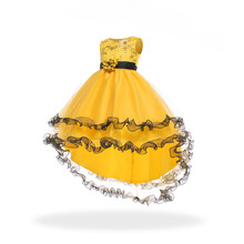 Free Shipping  Hot Sales Child Party Dress 2019 New Arrival Patchwork Yellow Flower Girl Dresses With Train Kids Princess Gowns