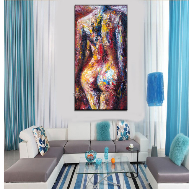 Contemporary Modern colorfull nude art painting hand painted unique ideas sexy woman body canvas oil painting wall decor