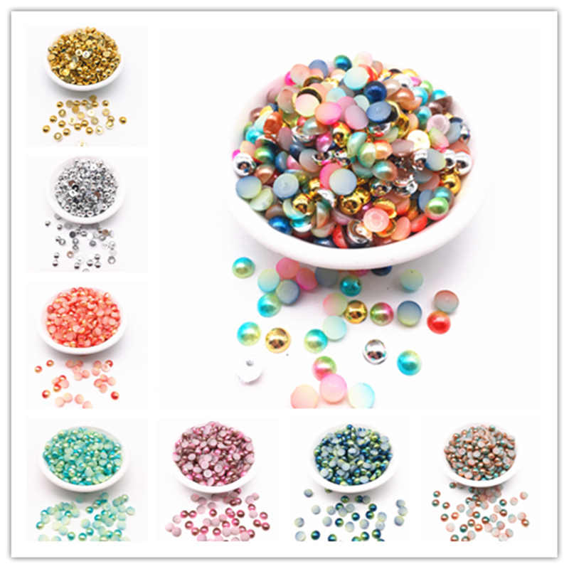 NEW 3/4/5/6/8mm Multi-color Half Pearl Bead Flat Back for DIY Jewelry Making Accessories