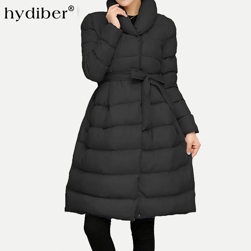 2016 Winter Coat Women Long Jacket Sashes Parkas Solid Cotton Padded Stand Collar Women's Wadded Jackets Outerwear Top Plus Size short cotton parkas 2017 winter jacket women abrigos mujer stand collar outwear wadded padded jacket parkas winter coat c3396