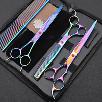 Professional Pet Grooming Shears Scissors 7 Inch Straight 6 Thinning Curved Shears Hair Cutting Shears 440C