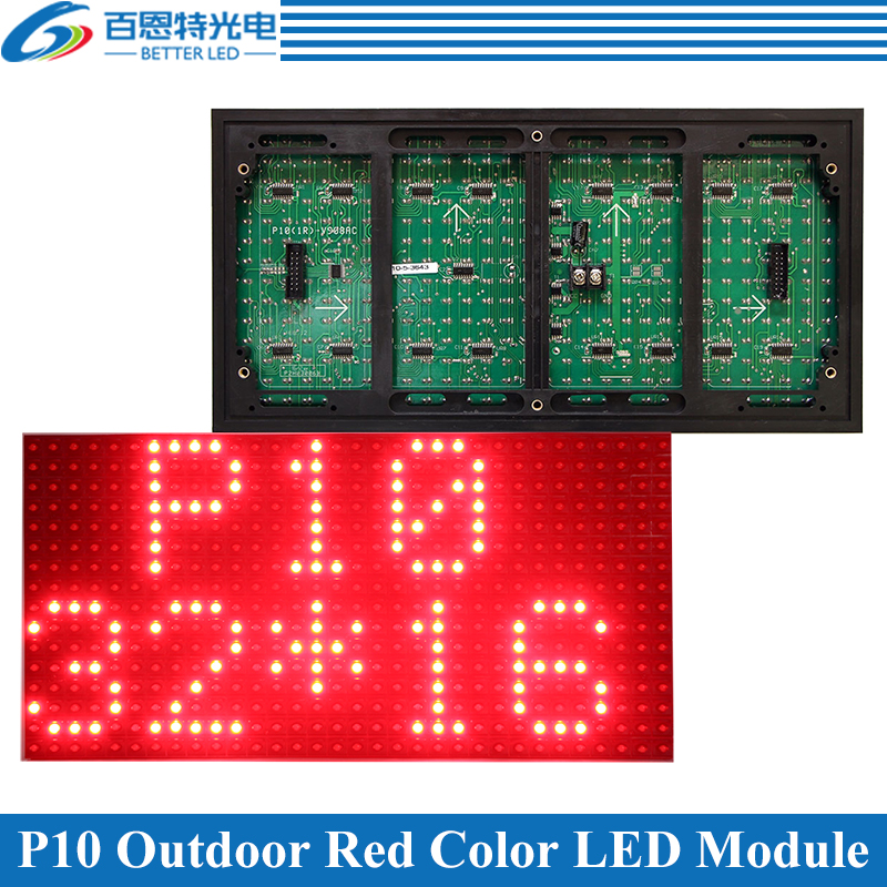320*160mm 32*16pixels Single Colro Red/White/Yellow/Green/Blue P10 Outdoor DIP LED Message Display Module