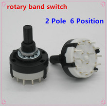 2pc High quality RS26 2 Pole Position 6 Selectable Band Rotary Channel Selector Switch Single Deck Rotary Switch Band Selector