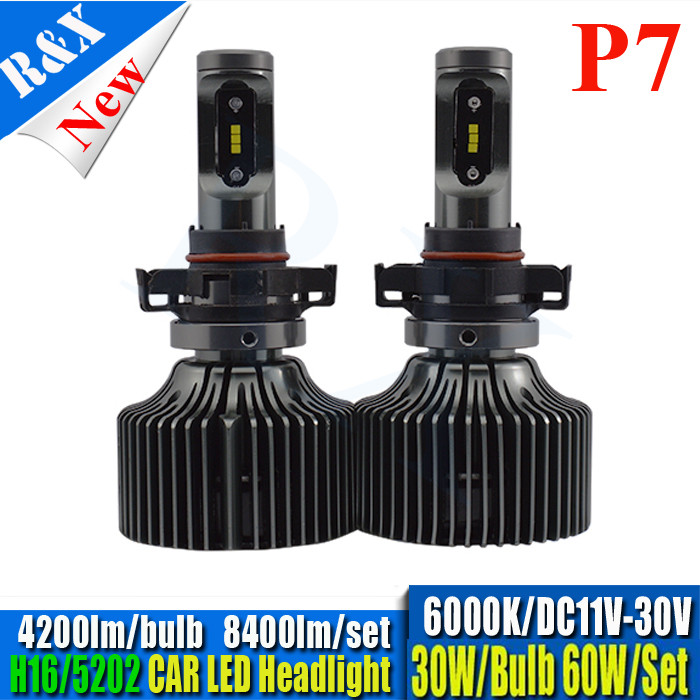 Pair all in one H16 5202 LED Headlight P7 60w 8400lm Auto LED headlamp bulbs LED Car Auto headlight Xenon Fog Driving Head Light