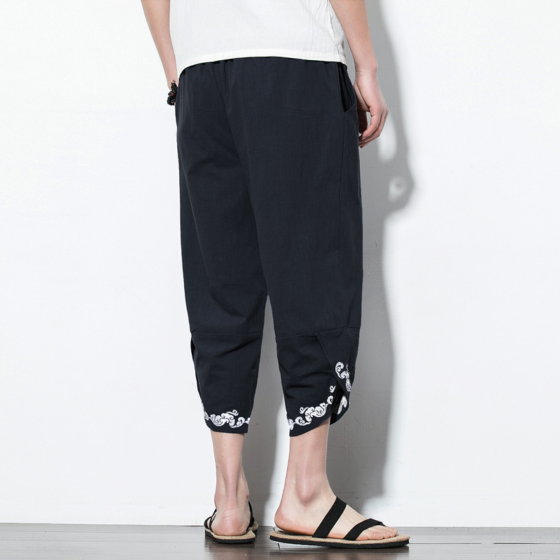 5XL Summer Men Linen Casual Baggy  Sweatpants Embroid Loose Harem Jogger Pant Male Running Fitness Workout track Pant Sporstwear