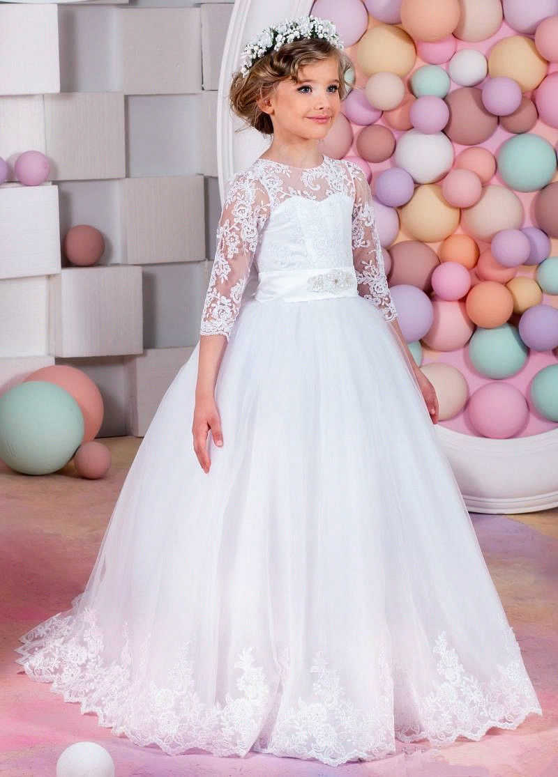 White Flower Girl Wedding Bridesmaid Birthday Party Formal Recital Ball Gown Long Sleeve Lace First Communion Dresses for Girls стоимость