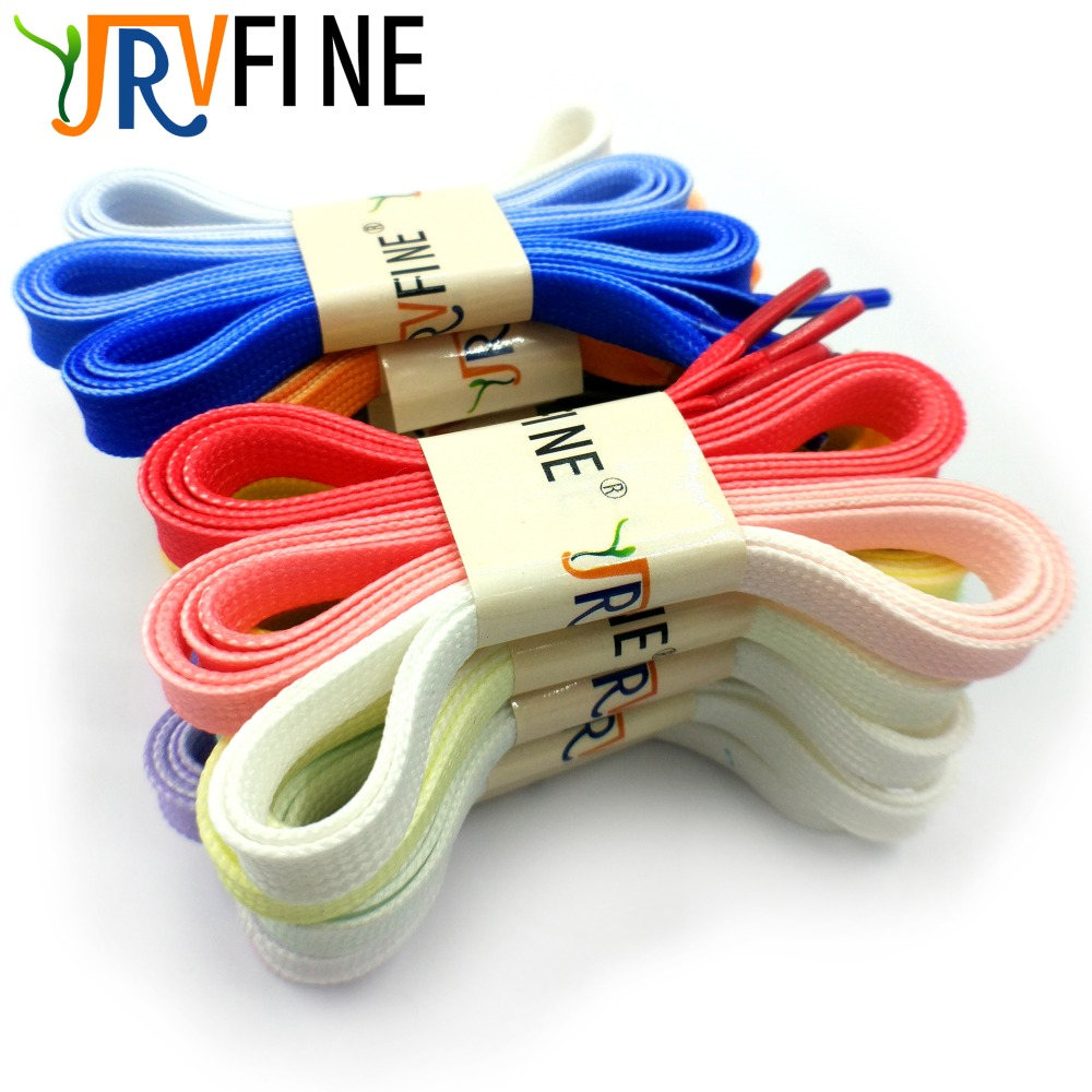 YJRVFINE 1 Pair Rainbow Flat Shoelaces Candy Gradient Shoe Laces Strings Party Camping Shoe Laces Rope for Women Casual Shoes
