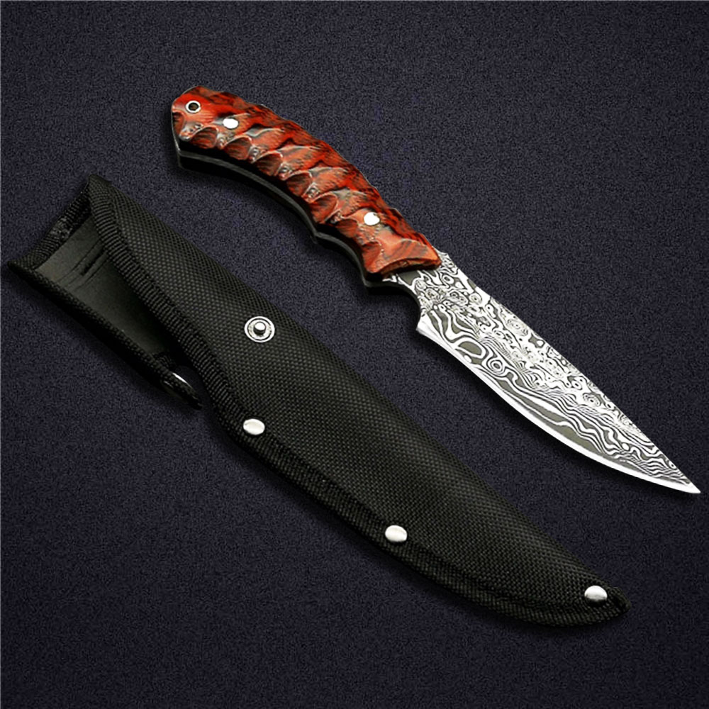 ToughKeng Red Micarta Handle Forge 440 Steel Fixed Blade Knife 58HRC Outdoor Camping Knives For Survival