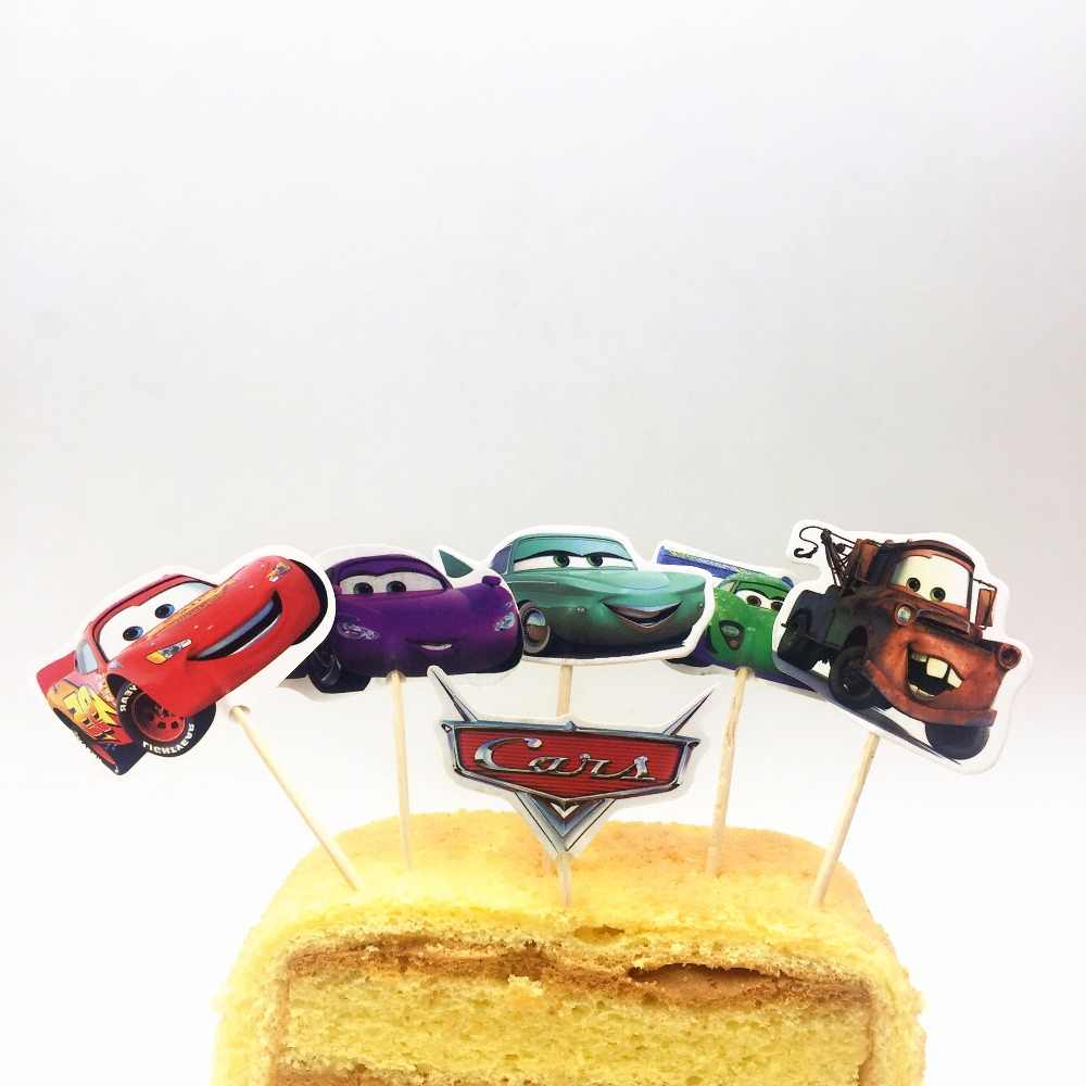 Marvelous 24Pcs Cake Topper Lightning Mcqueen Birthday Cake Topper Cars Personalised Birthday Cards Cominlily Jamesorg