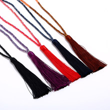 LZHLQ New Tassel Necklace Silk Tassel Glass Beads Crystal Necklaces 90cm Long Necklace Women Gifts Fashion Bohemia Jewelry(China)