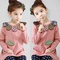 Primavera 2017 versão coreana do novo bebê girls dress camisa pétalas de manga comprida t-shirt tx-2336
