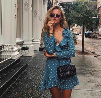 BRADELY MICHELLE Summer Dress 2018 Vintage Sexy Long Sleeve Ruffles Mini Printed A One piece Dress with Bandage 11 Colors