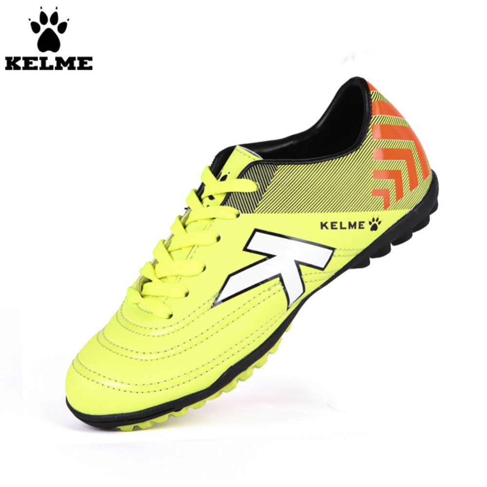 KELME Outdoor Sport Soccer Shoes Kids Synthetic Leather Antiskid Football Boots Training Shoes Rubber Sole kelme