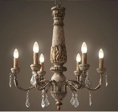 French restaurant chandelier vintage antique wood, wrought iron lamps Arts  Cafe Bar decorative wood light - Vintage Antique Chandeliers Antique Furniture