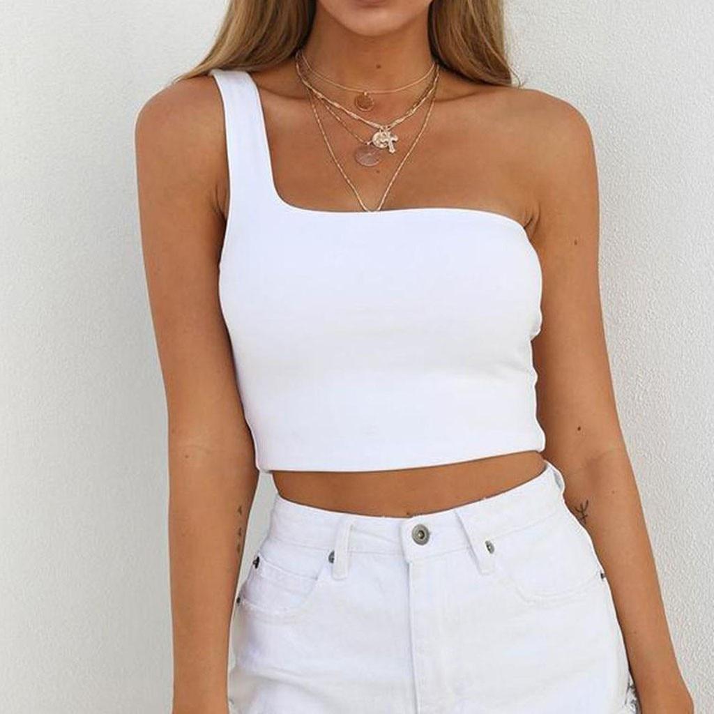 Women Ladies Female One Shoulder Crop Tops Sleeveless T-Shirt Tank Tops Summer Beach Vest Bare Midriff Summer Fashion Clothes