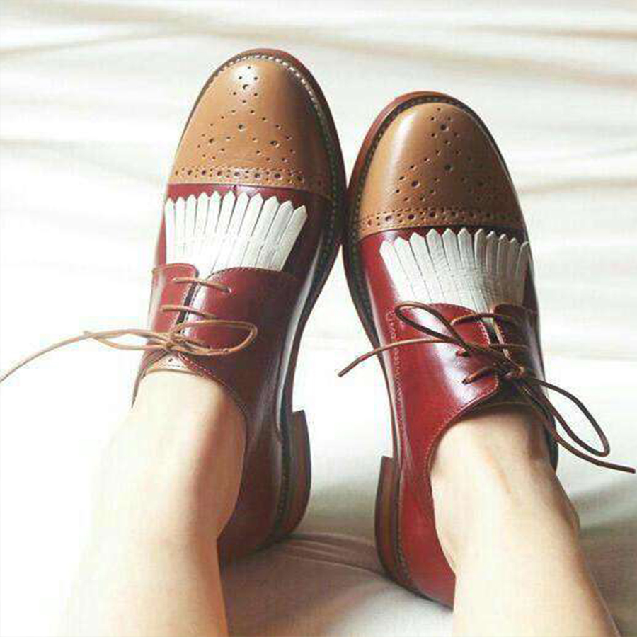 Genuine sheepskin leather brogue yinzo women flats shoes vintage handmade sneakers oxford shoes for women 2018 winter red brown 1pcs smc type 1 2 bspt regulator filter lubricator 3000 l min