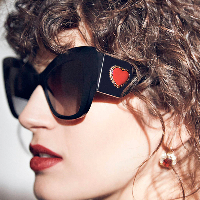 eacdb06325 mimiyou Hot Cat Eye Sunglasses Women Luxury Red Heart-shaped Sun Glasses  Grace Vintage Fashion Female Eyeglasses Shades oculos