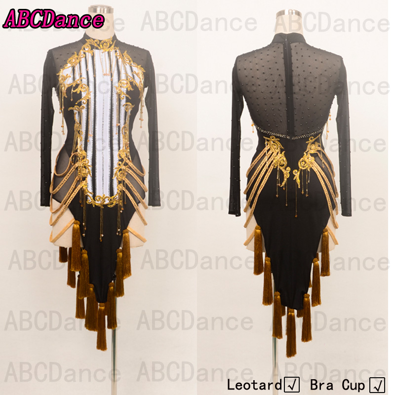 Latin Dance Dresses Women High Quality Customized Rumba Samba Dancing Skirt Lady Tassel Latin Competition Dance Dress Gold Sexy