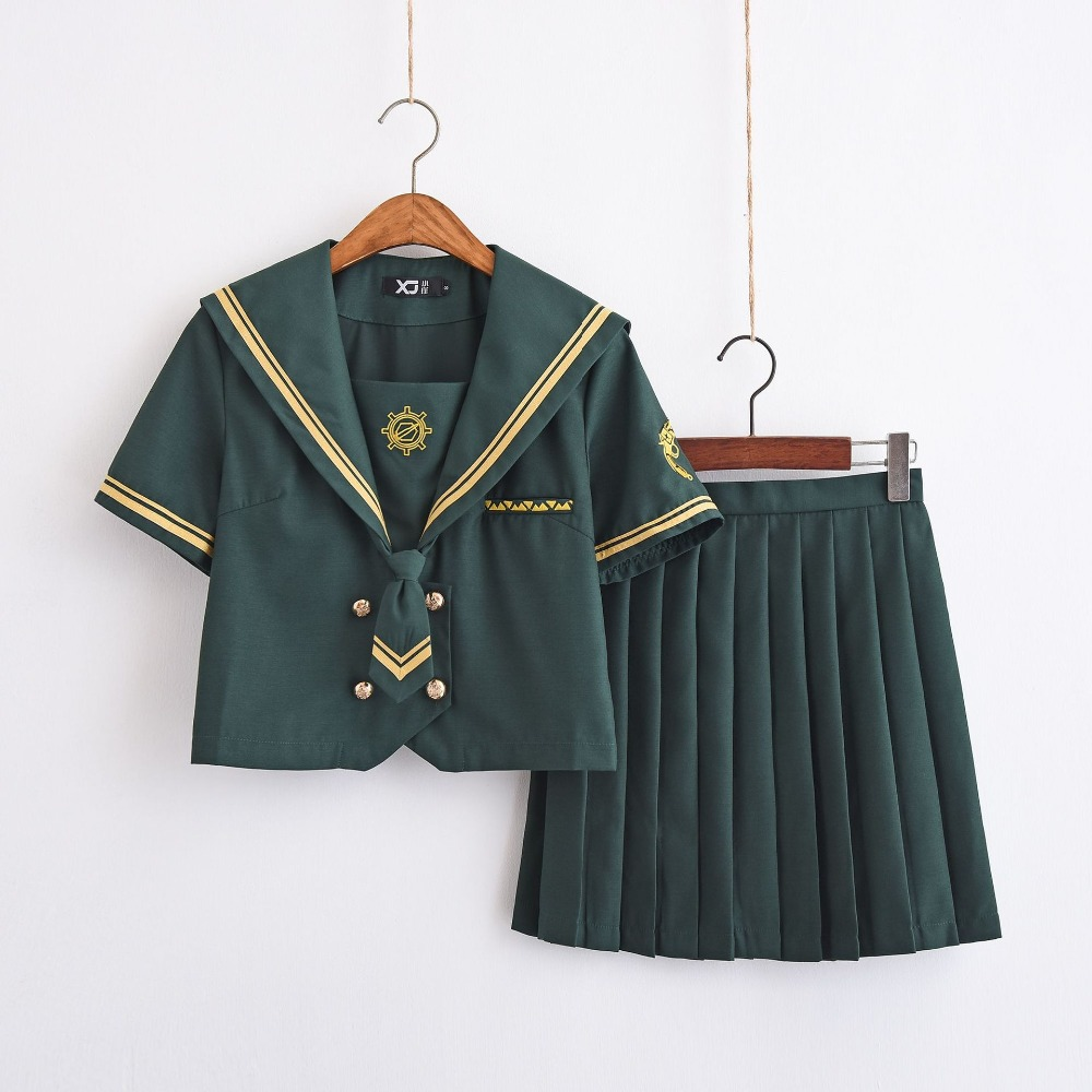 New Arrival Japanese School Green Sailor Suit Hackbuteer Armbands JK Uniforms Chorus British School Girl Uniform Set S-XXL
