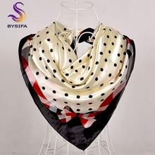 [BYSIFA] женский шарф, новинка, черный, бежевый шелковый квадратный шарф, платок для девушек, в горошек, зимние шарфы, бандана, весна, осень, шарф на голову, синий