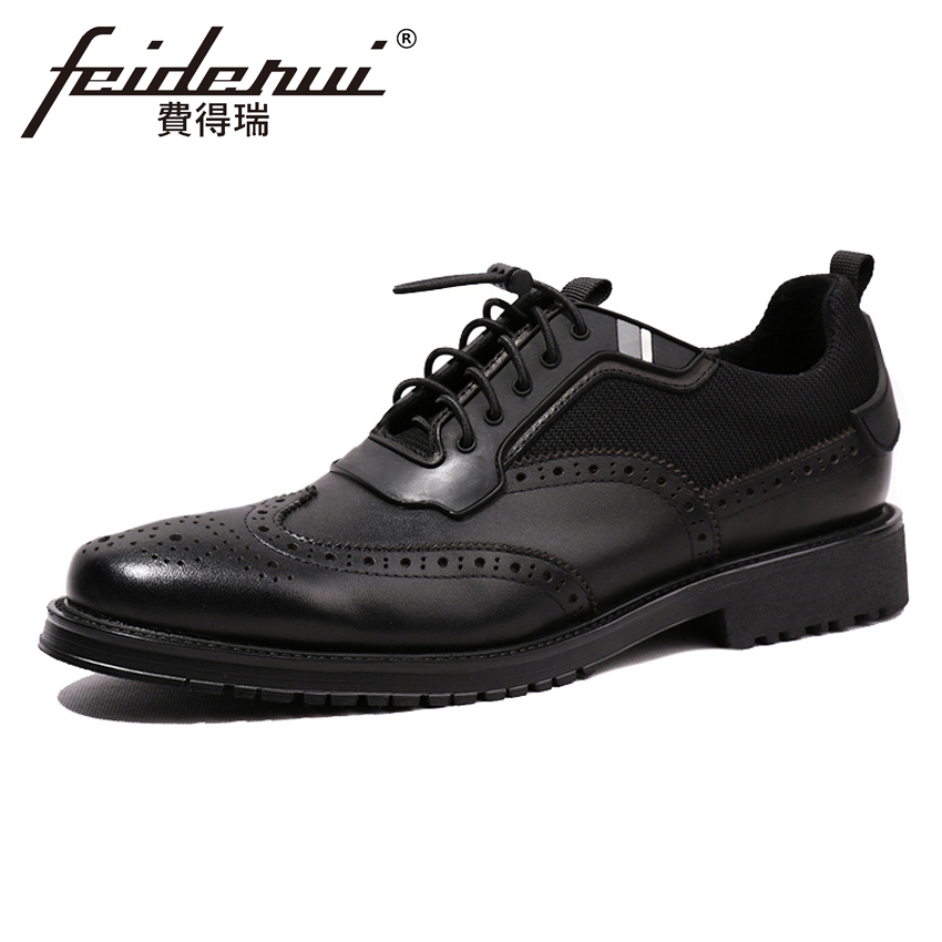 British Genuine Leather Handmade Mens Platform Oxfords Round Toe Carved Man Formal Dress Banquet Wingtip Brogue Shoes HQS140