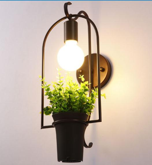 Modern Wrought Iron Flower Pot Plants Potted Studio Cafe Iron Frame wall Lamp rh style popular in europe and the creative mall stores chain cafe cafe booth bronzing wrought iron wall lamp