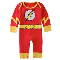 Baby Boy The Flash Rompers Spuer Hero Infant Costume Long Sleeves Spring Autumn Size 0 1