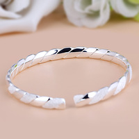 YJ B S255 New Fashion 990 Sterling Silver Bracelet Retro Frosted Interweave Opening Full Silver Women's Jewelry Bangles