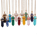 14Colors Bullet Shape Turquoise Agate Amethyst Natural Stone Pendant Necklace Gold Plated Choker Necklace For Women