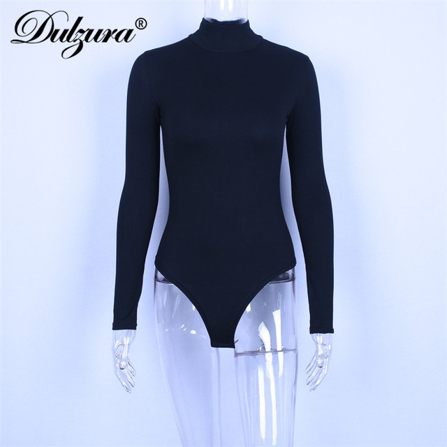 Dulzura cotton long sleeve women sexy bodysuit 2019 autumn winter female Mock Neck warm clothes slim fit fashion solid body suit 5