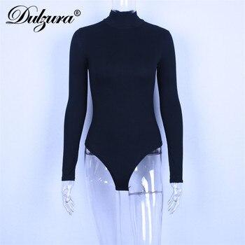 Dulzura cotton long sleeve women sexy bodysuit 2019 autumn winter female Mock Neck warm clothes slim fit fashion solid body suit 10
