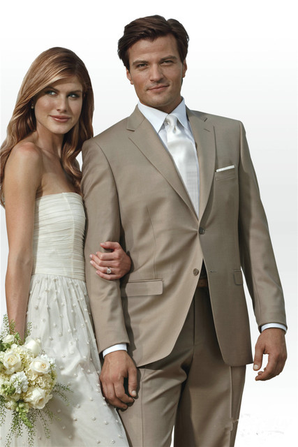 men suits for wedding Modern Designer Notch Custom Made Taupe Suit ...
