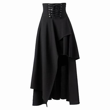 Steampunk Skirts Womens  Black Skirts Basic Vintage Long High Waist Joint Ruffles  Femme