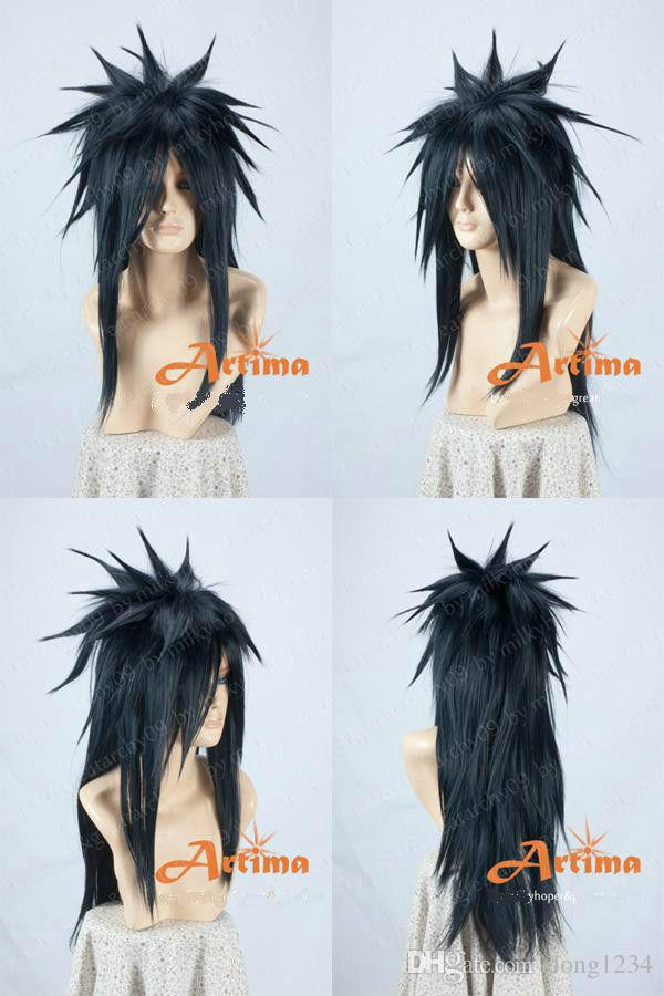 Free Shipping Heat Resistant >>NARUTO Uchiha Madara Long Black Cosplay Animation Modeling Wig lolita style trendy side bang white long wave heat resistant synthetic capless cosplay wig