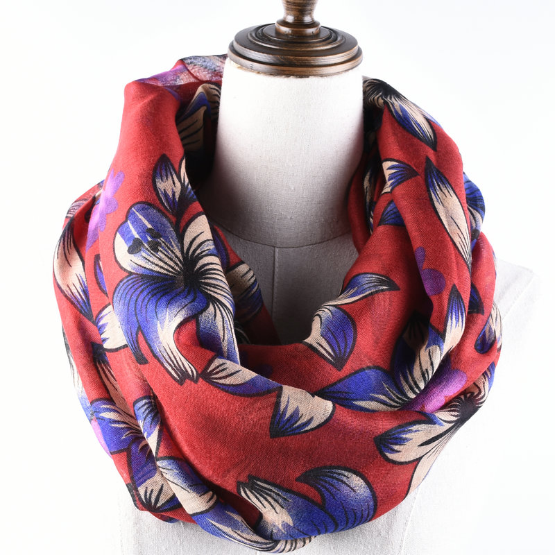 Guttavalli Women Europe Floral Loop Shawl Female Chevron Sunscreen Ring   Wraps     Scarf   Soft Stripes Flowers Skinny Infinity   Scarves