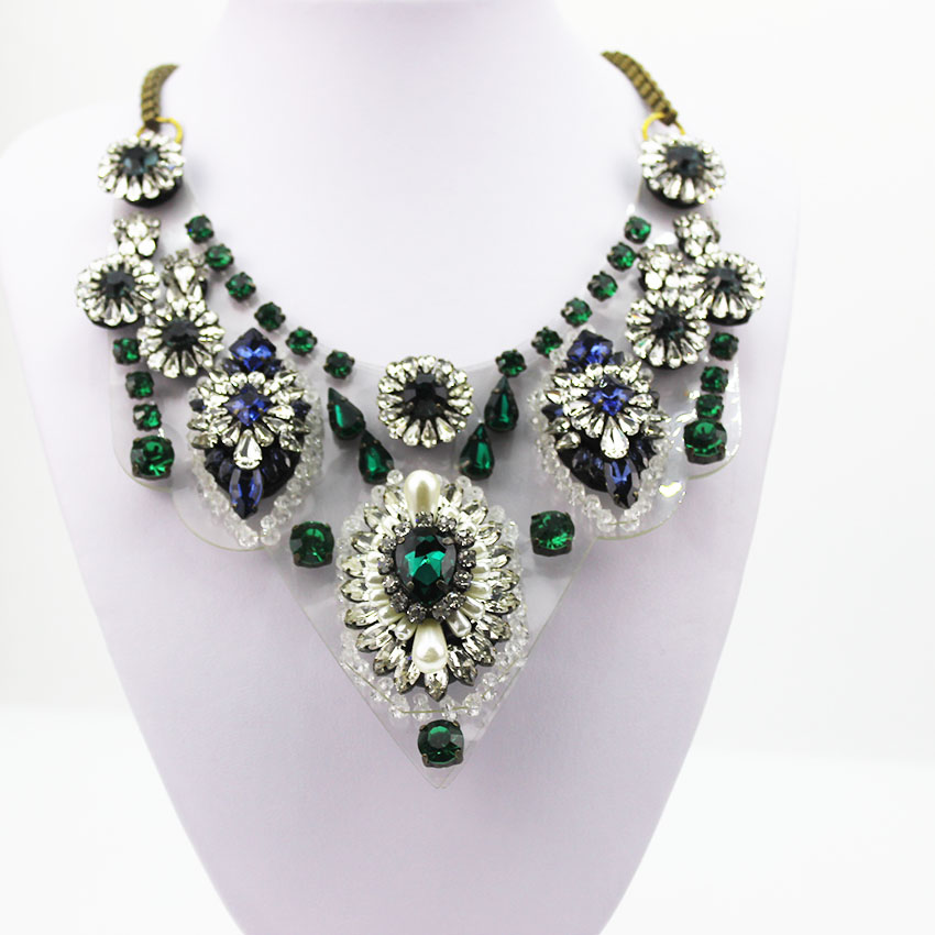 European High Quality Crystal Necklaces Wholesale Shourouk Choker Statement Necklace & Pendant Fower Women280