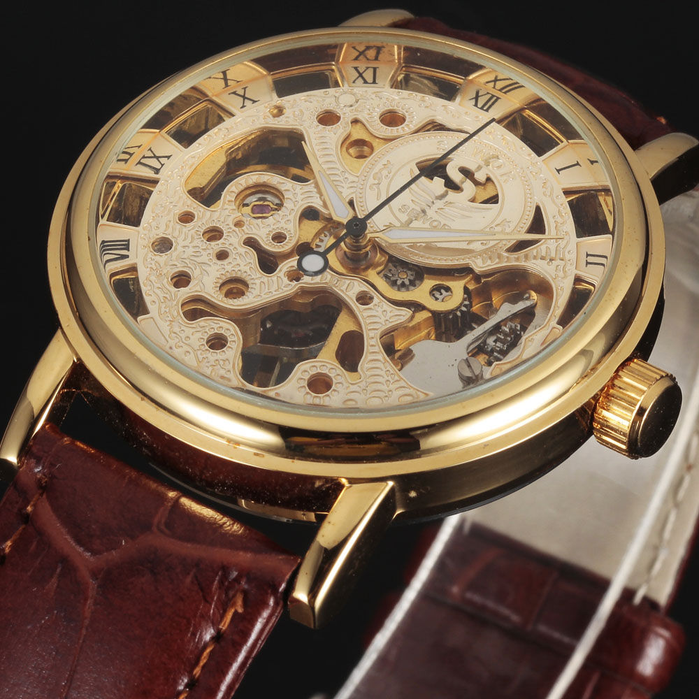 2016 new SEWOR BRAND skeleton hollow fashion mechanical man gift clock luxury male business leather wrist