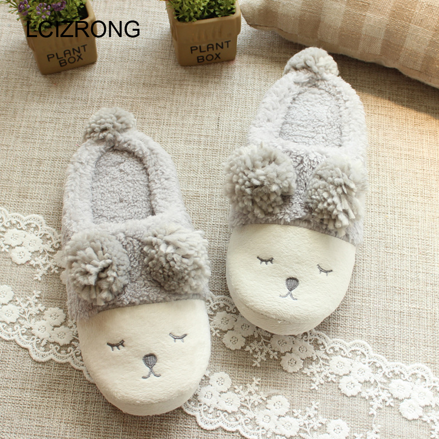 LCIZRONG Cotton Cartoon Sheep Home Slippers Women Cute Animal Soft Warm House Slippers Big Size Non-slip Family Slippers Winter image