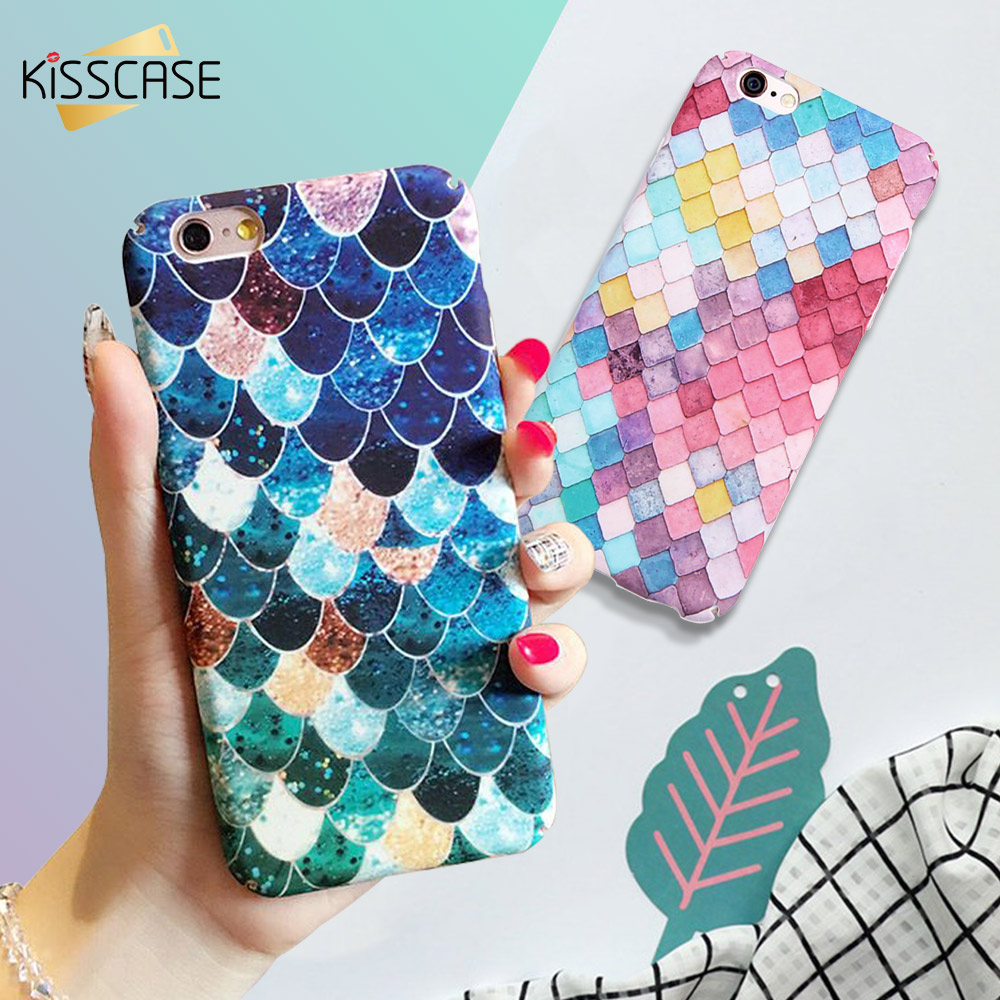 KISSCASE For iPhone 7 6 6S Plus Mermaid 3D Scales Phone Cases For iPhone 5 5S SE Girly Back Cover For iPhone 6 6S 7 Plus Case