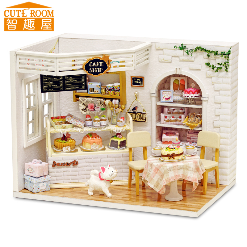 Assemble DIY Doll House Toy Wooden Miniatura Doll Houses Miniature - Dolls and Stuffed Toys