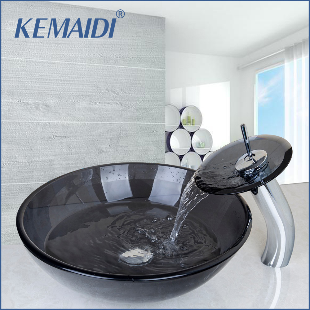 Bathroom Black Clear Tempered Glass Vessel Sink Bowl W/ Chrome Faucet Combo  W/ Pop